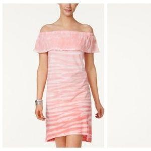 Style&Co Off Shoulder Tie Dye Ruffle Dress